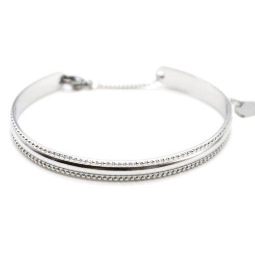 Bracelet-Jonc-Contour-Points-Acier-Argente-avec-Chainette-Fermoir