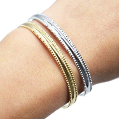 Bracelet-Jonc-Contour-Points-Acier-avec-Chainette-Fermoir