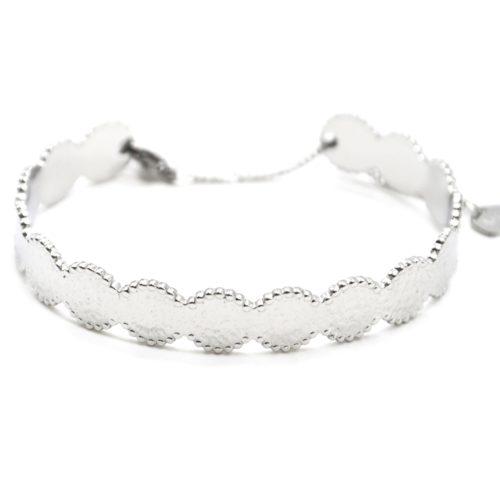 Bracelet-Jonc-Cercles-Marteles-Acier-Argente-avec-Chainette-Fermoir