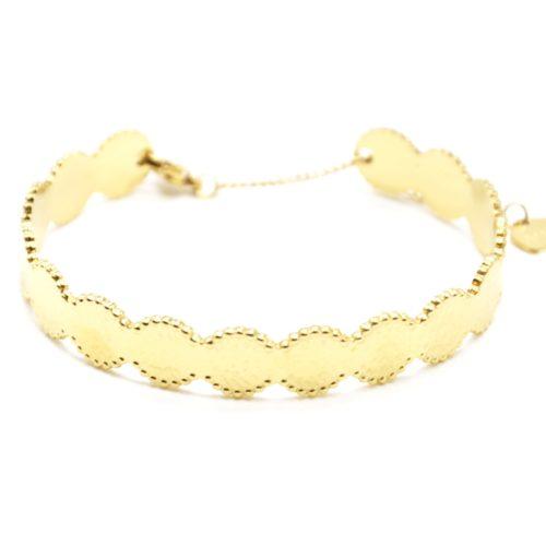 Bracelet-Jonc-Cercles-Marteles-Acier-Dore-avec-Chainette-Fermoir