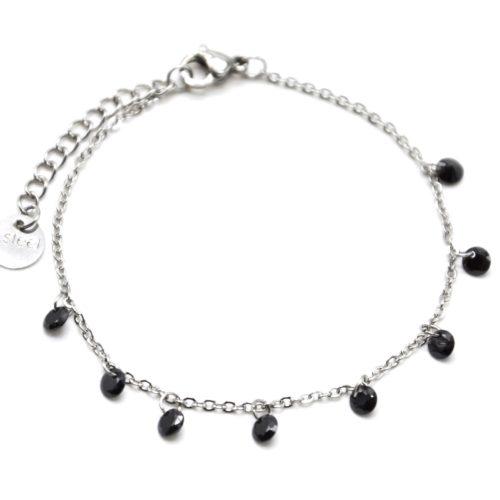 Bracelet-Fine-Chaine-Acier-Argente-avec-Pampilles-Pierres-Rondes-Noires