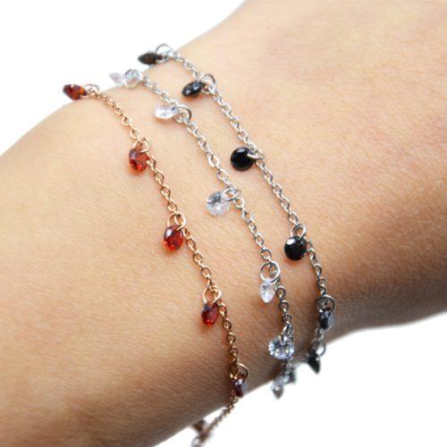 Bracelet-Fine-Chaine-Acier-avec-Pampilles-Pierres-Rondes