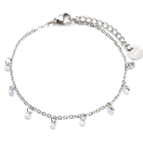 Bracelet-Fine-Chaine-Acier-Argente-avec-Pampilles-Pierres-Rondes-Blanches