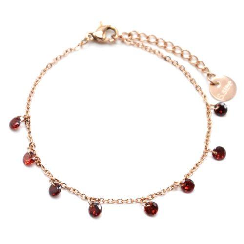 Bracelet-Fine-Chaine-Acier-Or-Rose-avec-Pampilles-Pierres-Rondes-Rouges
