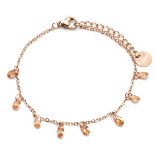 Bracelet-Fine-Chaine-Acier-Or-Rose-avec-Pampilles-Pierres-Gouttes-Champagne