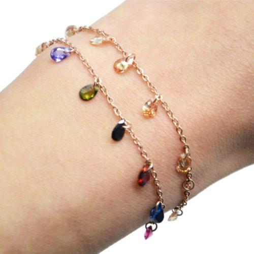 Bracelet-Fine-Chaine-Acier-Or-Rose-avec-Pampilles-Pierres-Gouttes