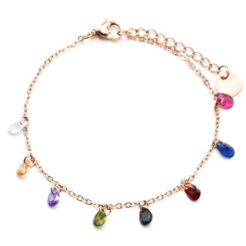 Bracelet-Fine-Chaine-Acier-Or-Rose-avec-Pampilles-Pierres-Gouttes-Multicolore