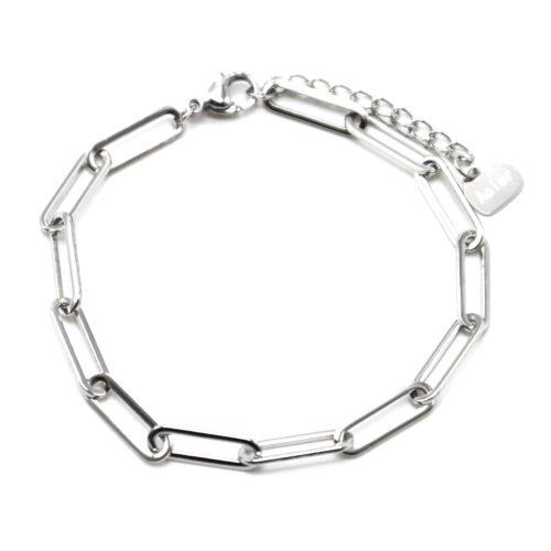 Bracelet-Chaine-avec-Maillons-Rectangles-Arrondis-Acier-Argente
