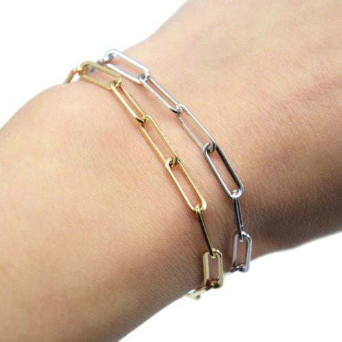 Bracelet-Chaine-avec-Maillons-Rectangles-Arrondis-Acier