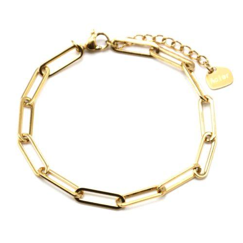 Bracelet-Chaine-avec-Maillons-Rectangles-Arrondis-Acier-Dore