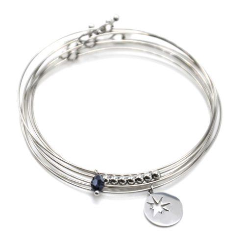 Bracelet-Semainier-Multi-Joncs-Acier-Argente-avec-Billes-Perle-et-Medaille-Ajouree-Etoile
