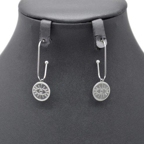 Boucles-dOreilles-Crochet-Pendant-avec-Medaille-Patinee-Oeil-Acier-Argente
