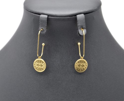 Boucles-dOreilles-Crochet-Pendant-avec-Medaille-Patinee-Oeil-Acier-Dore