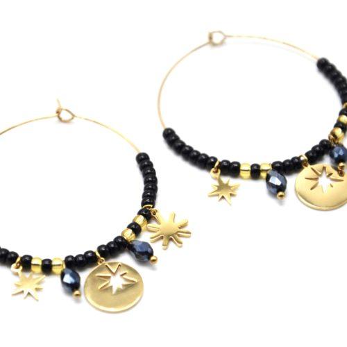 Boucles-dOreilles-Creoles-Acier-Dore-avec-Medaille-Etoile-Soleil-et-Perles-Noires