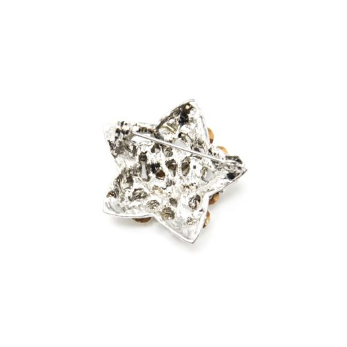 Broche-Epingle-Etoile-Relief-Metal-Strass-Argente