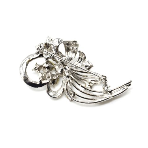 Broche-Epingle-Boucle-Fleur-Feuille-Metal-Strass-Argente