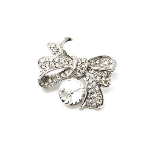 Broche-Epingle-Noeud-Relief-Metal-Strass-Argente-avec-Pierre