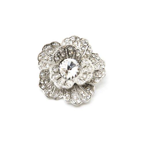Broche-Epingle-Fleur-Relief-Metal-Strass-Argente-avec-Pierre