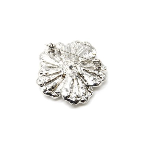 Broche-Epingle-Fleur-Relief-Metal-Strass-Argente-avec-Pierre