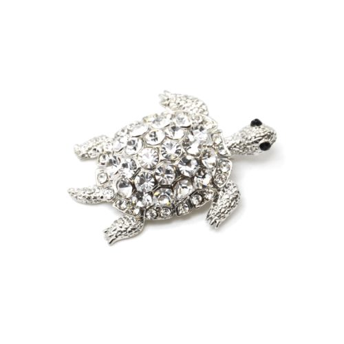 Broche-Epingle-Tortue-Relief-Metal-Strass-Argente