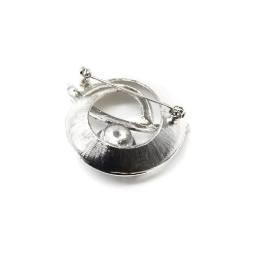 Broche-Epingle-Coquille-Spirale-Metal-Strass-Argente-avec-Perle
