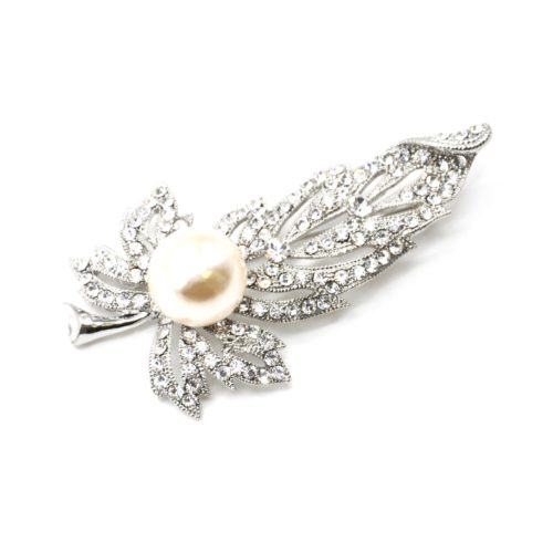 Broche-Epingle-Feuille-Ajouree-Metal-Strass-Argente-avec-Perle-Ecru