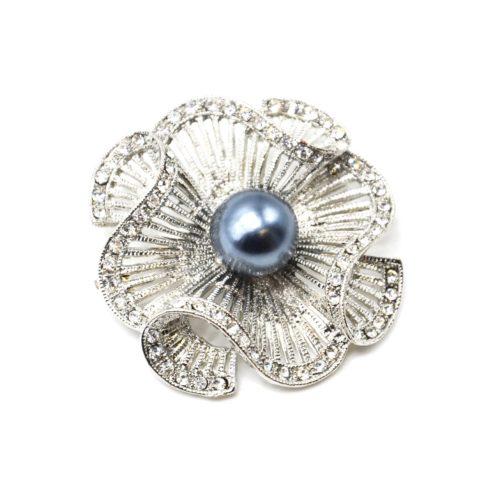 Broche-Epingle-Fleur-Ajouree-Rayures-Metal-Strass-Argente-avec-Perle-Grise