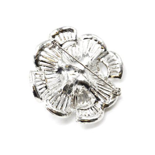Broche-Epingle-Fleur-Ajouree-Rayures-Metal-Strass-Argente-avec-Perle