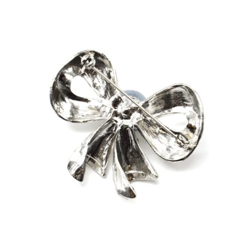 Broche-Epingle-Noeud-Relief-Metal-Strass-Argente-avec-Perle-Grise