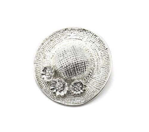 Broche-Epingle-Chapeau-Relief-Metal-Argente-avec-Fleurs-Strass