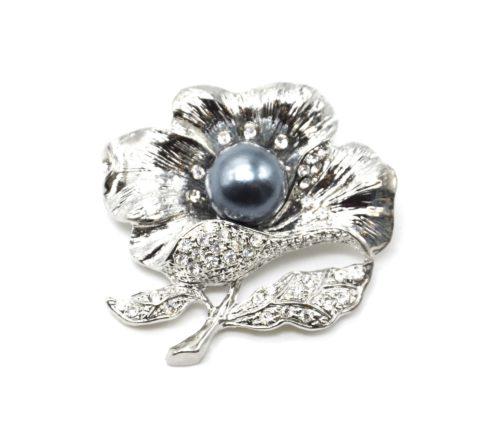 Broche-Epingle-Fleur-Metal-Strass-Argente-avec-Perle-Grise