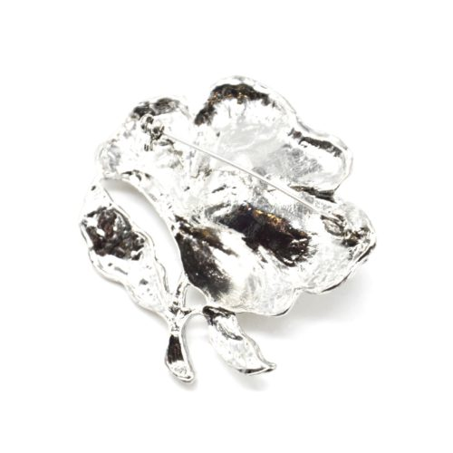 Broche-Epingle-Fleur-Metal-Strass-Argente-avec-Perle