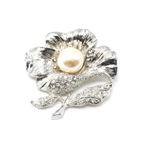 Broche-Epingle-Fleur-Metal-Strass-Argente-avec-Perle-Ecru