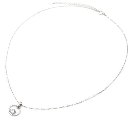 Collier-Fine-Chaine-Argent-925-Pendentif-Anneau-Strass-Zirconium-Cercle-et-Pierre