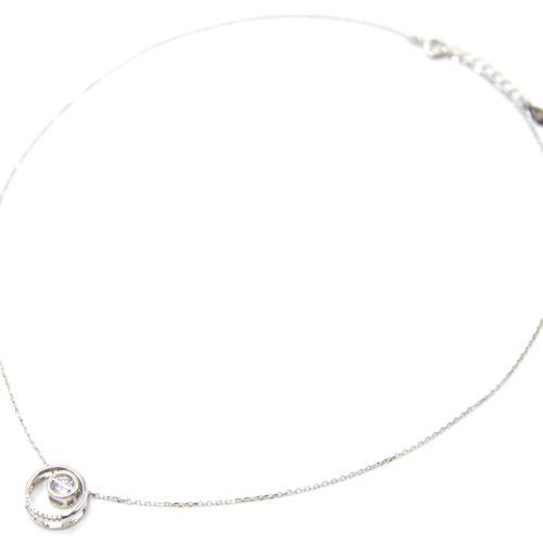 Collier-Fine-Chaine-Argent-925-Pendentif-Anneaux-Ajoures-avec-Pierre-Zirconium