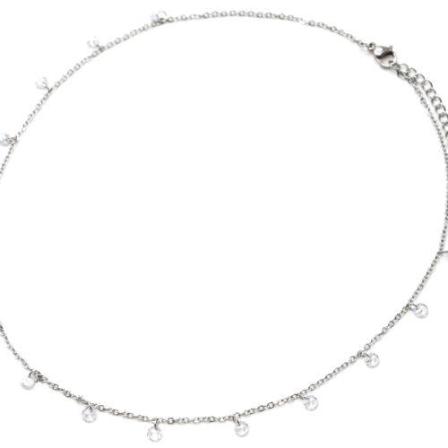 Collier-Fine-Chaine-Acier-Argente-avec-Pampilles-Pierres-Rondes-Blanches