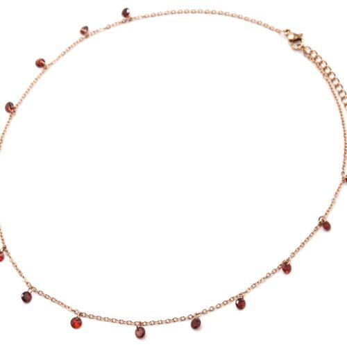 Collier-Fine-Chaine-Acier-Or-Rose-avec-Pampilles-Pierres-Rondes-Rouges