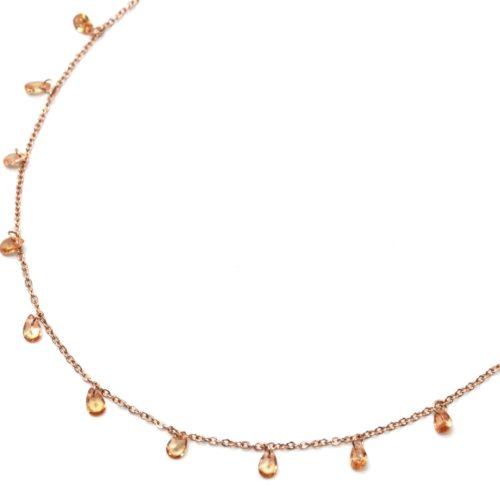 Collier-Fine-Chaine-Acier-Or-Rose-avec-Pampilles-Pierres-Gouttes-Champagne