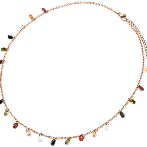 Collier-Fine-Chaine-Acier-Or-Rose-avec-Pampilles-Pierres-Gouttes-Multicolore