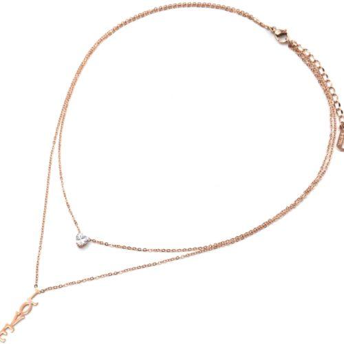 Collier-Double-Chaines-Pendentifs-Pierre-Coeur-et-Message-Love-Acier-Or-Rose