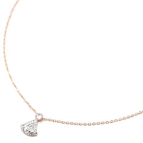 Collier-Fine-Chaine-Acier-Or-Rose-Pendentif-Cravate-Strass-Blanc