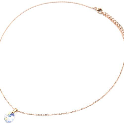 Collier-Fine-Chaine-Acier-Or-Rose-Pendentif-Pierre-Goutte-Reflets-Multicolores
