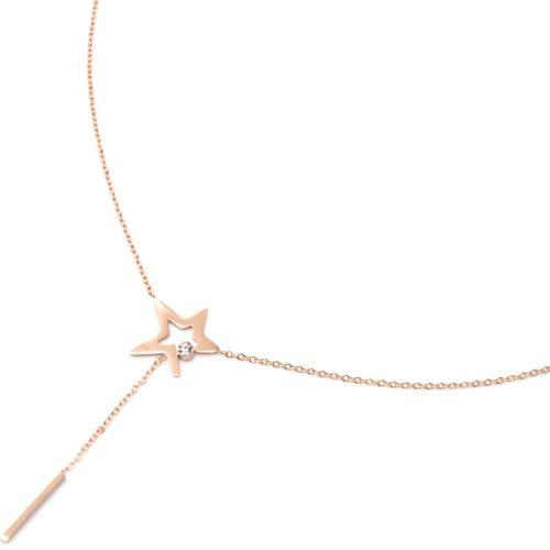 Collier-Fine-Chaine-Acier-Or-Rose-Pendentif-Y-Etoile-Strass-et-Barre-Pendante