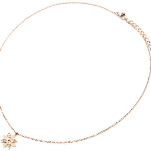 Collier-Fine-Chaine-Acier-Or-Rose-Pendentif-Fleur-Petales-Pierres