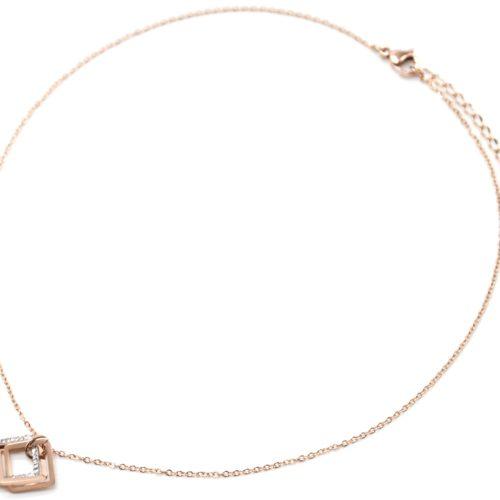 Collier-Fine-Chaine-Pendentif-Triple-Losanges-Contour-Acier-Or-Rose-et-Strass-Blanc