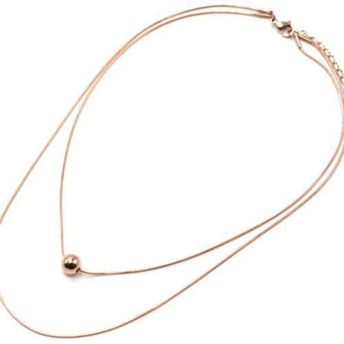 Collier-Double-Chaines-avec-Pendentif-Bille-Acier-Or-Rose