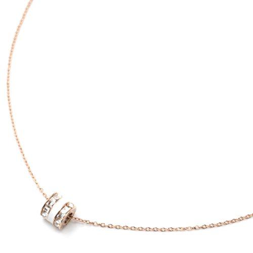 Collier-Fine-Chaine-Acier-Or-Rose-Pendentif-Anneau-Pierres-et-Email-Blanc