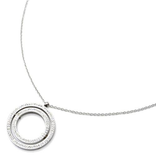 Collier-Fine-Chaine-Acier-Argente-Pendentif-Double-Cercles-Contour-Strass