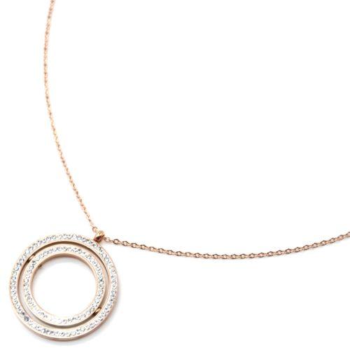 Collier-Fine-Chaine-Acier-Or-Rose-Pendentif-Double-Cercles-Contour-Strass