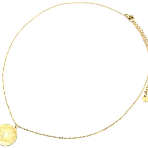 Collier-Pendentif-Medaille-Gravee-Motif-Soleil-Acier-Dore